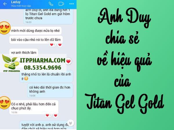 Anh Lê Duy chia sẻ về hiệu quả của Titan Gel Gold