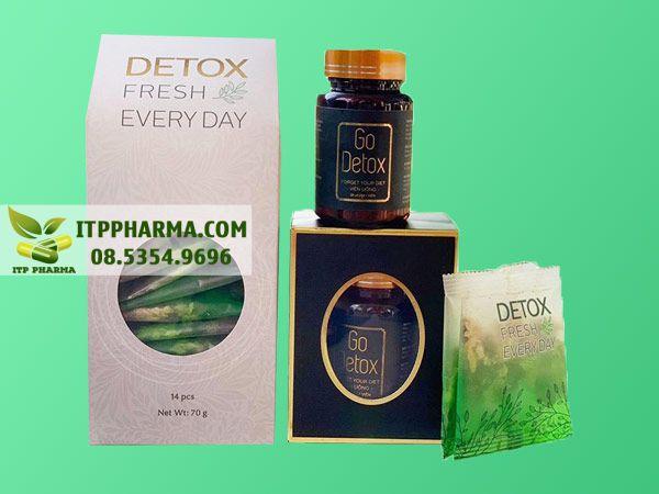 Hình ảnh giảm cân GoDetox và trà hoa giải độc Detox Fresh Every Day mặt trước
