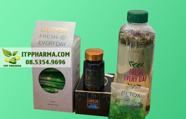 Hình ảnh giảm cân GoDetox và trà hoa giải độc Detox Fresh Every Day