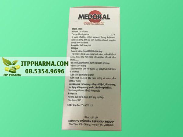 Hình ảnh thuốc Medoral mặt bên chứa thông tin thành phần