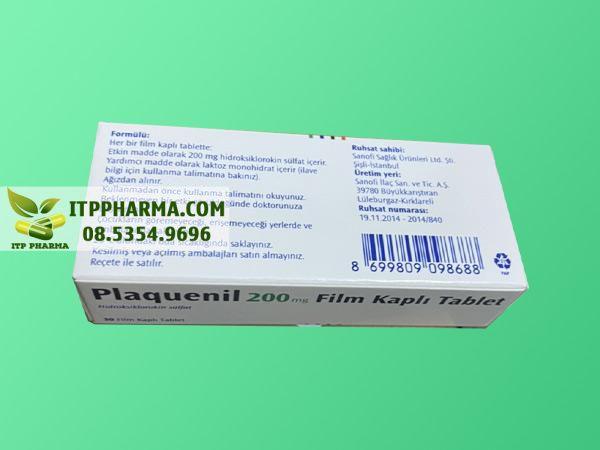 Mặt sau hộp thuốc Plaquenil 200mg