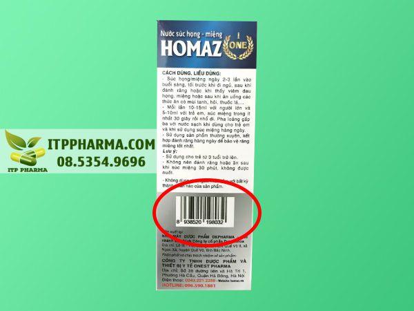Mã vạch sản phẩm Homaz One