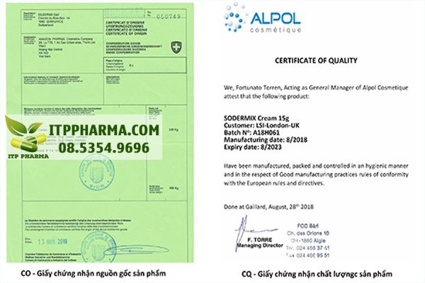 CO - Giấy chứng nhận xuất xứ và CQ - Giấy chứng nhận chất lượng theo tiêu chuẩn Châu Âu của kem bôi Sodermix