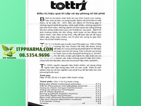 Tờ hướng dẫn sử dụng thuốc trĩ trĩ Tottri