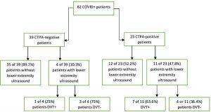 Hình 4. Bệnh nhân COVID+ siêu âm tĩnh mạch sâu chi dưới và huyết khối tĩnh mạch sâu. COVID+: Bệnh do coronavirus; CTPA: Chụp cắt lớp vi tính động mạch phổi; DVT +: Đã có DVT; DVT- Không có DVT