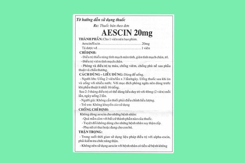 Tờ hướng dẫn sử dụng thuốc Aescin