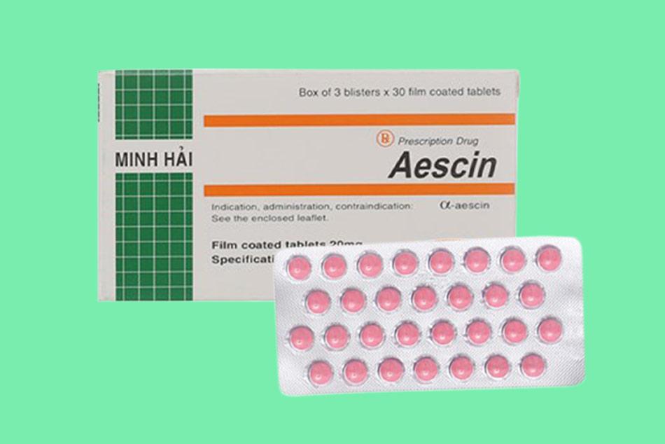 Hình ảnh hộp và vỉ thuốc Aescin