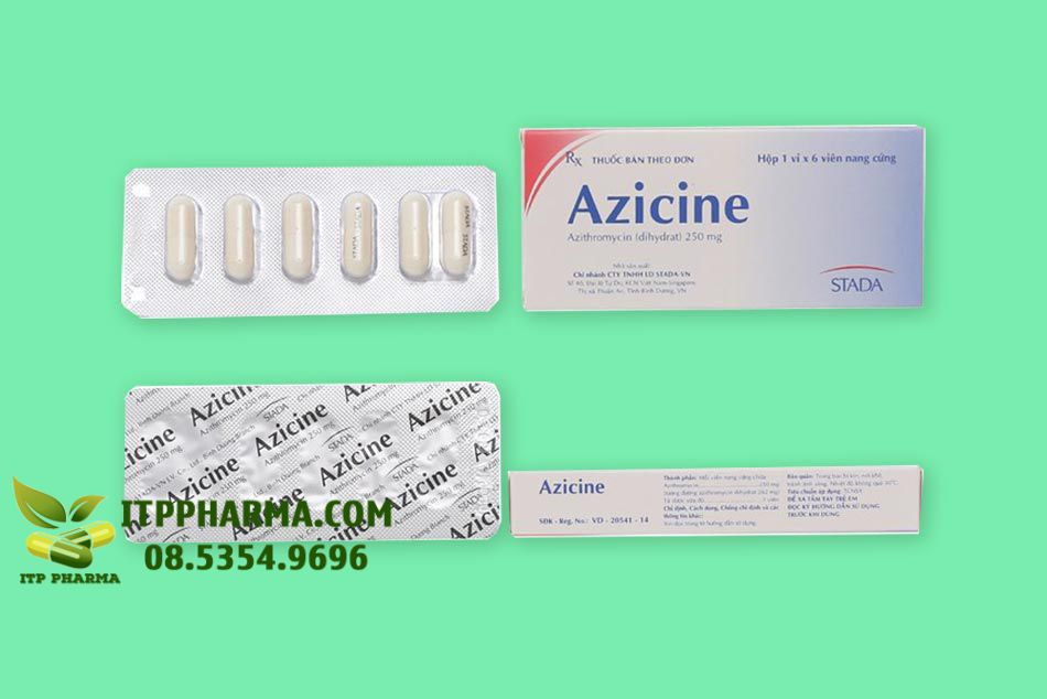 Mặt trước và sau của Thuốc Azicine 250mg