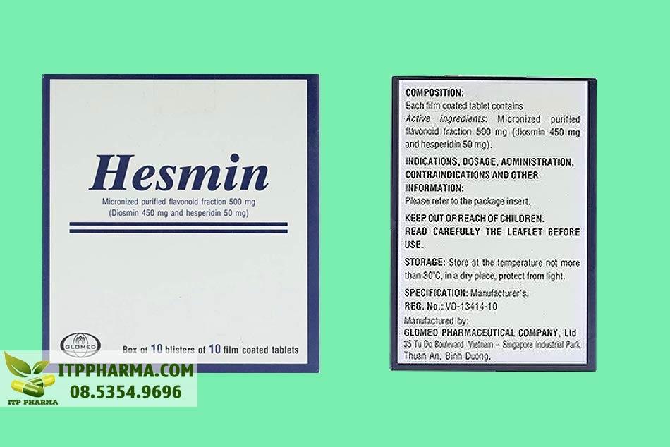 Mặt bên hộp thuốc Hesmin 500mg