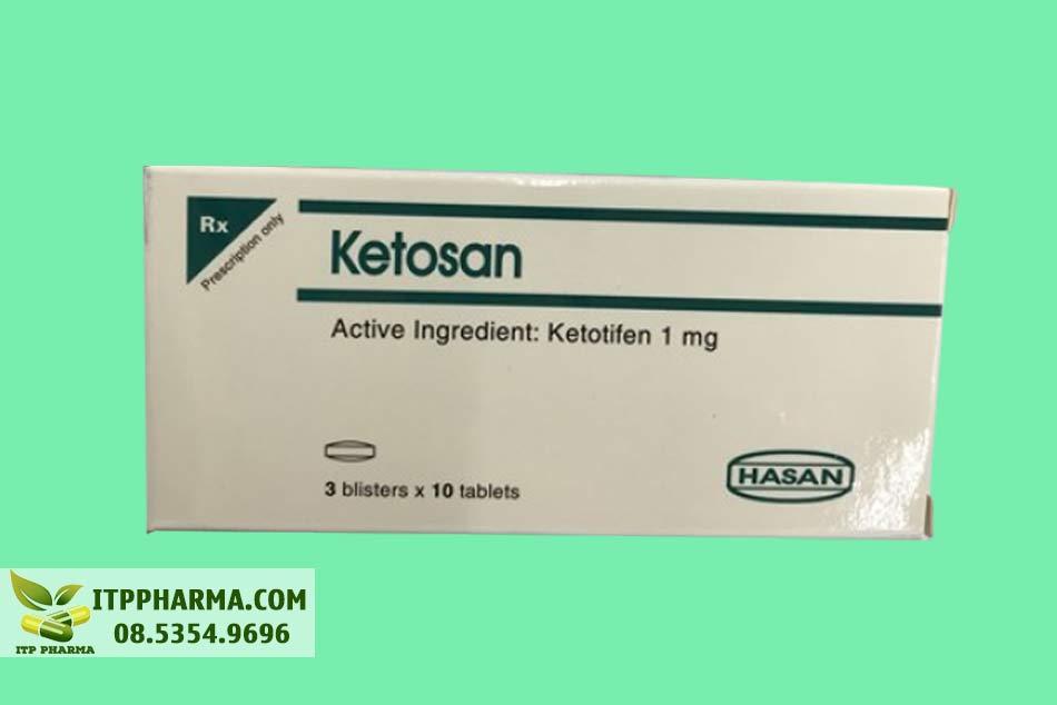 Mặt trước của hộp thuốc Ketosan