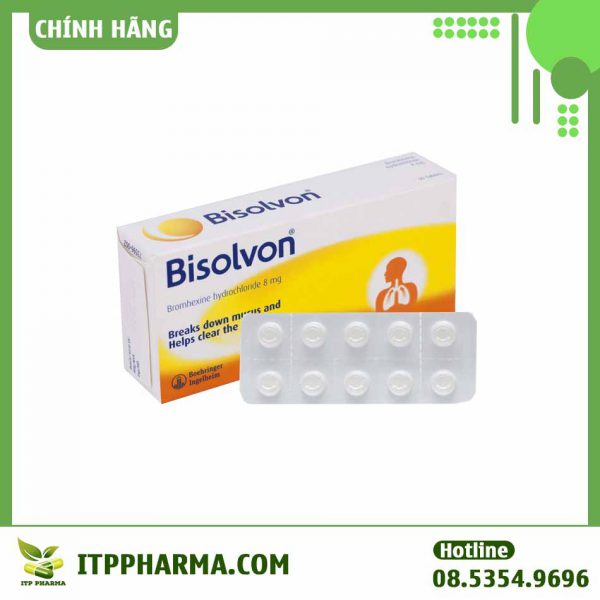 Bisolvon 8mg -Làm loãng đờm trong các bệnh phế quản phổi cấp và mạn tính