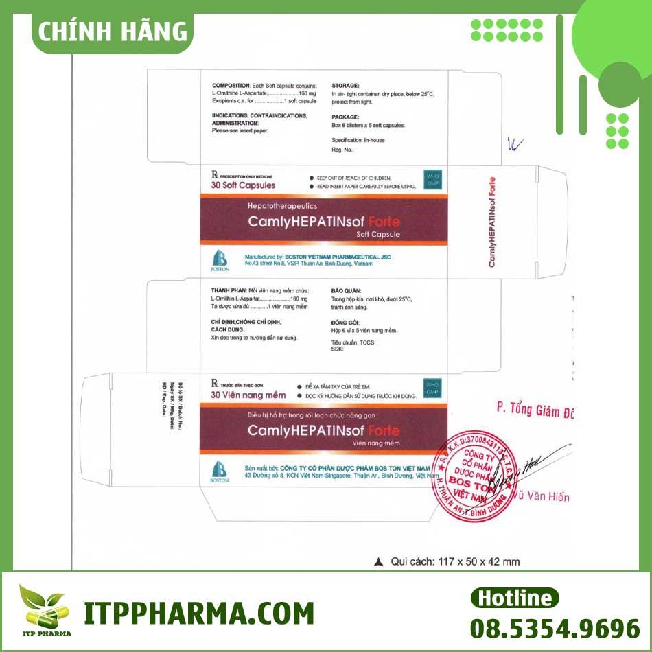 Thiết kế bìa của hộp thuốc Camlyhepatinsof từ nhà sản xuất