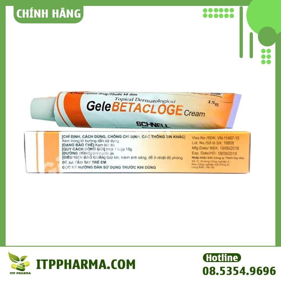 Hình ảnh mặt dưới hộp thuốc và tuýp Gelebetacloge