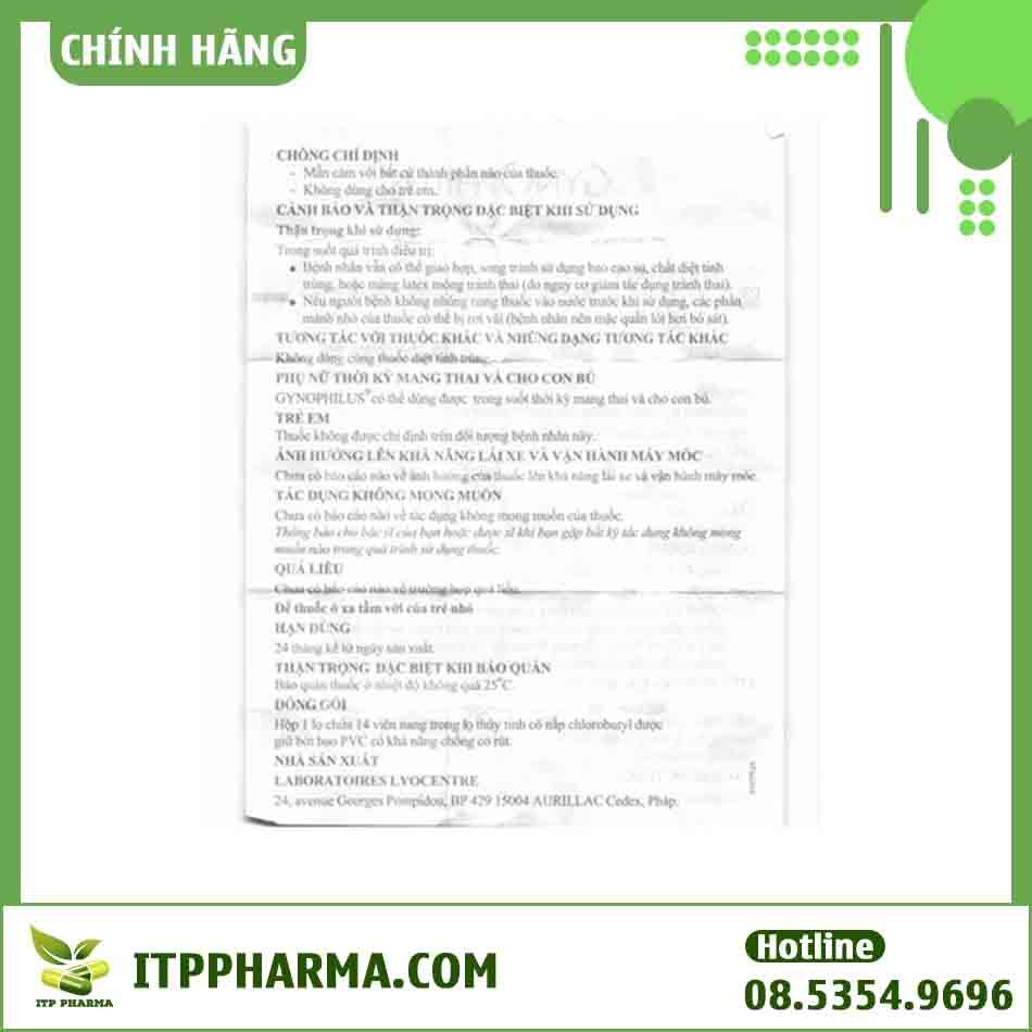 Tờ hướng dẫn sử dụng của thuốc Gynophilus