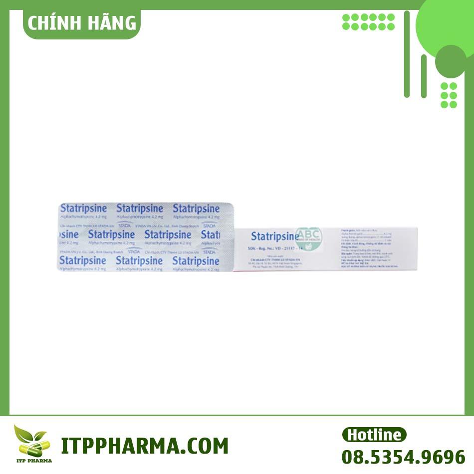 Hình ảnh một số thông tin của thuốc Statripsine trên hộp