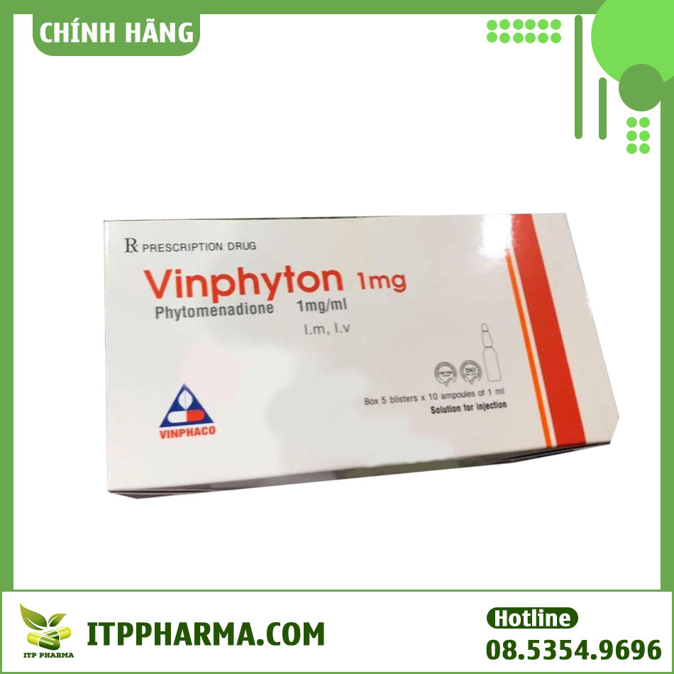 Mặt trước hộp thuốc Vinphyton 1mg