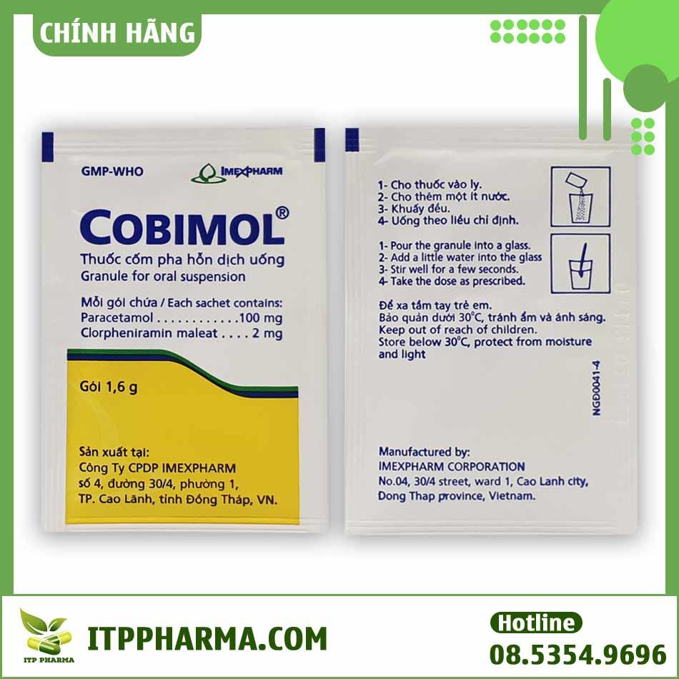 Hai mặt gói thuốc cobimol