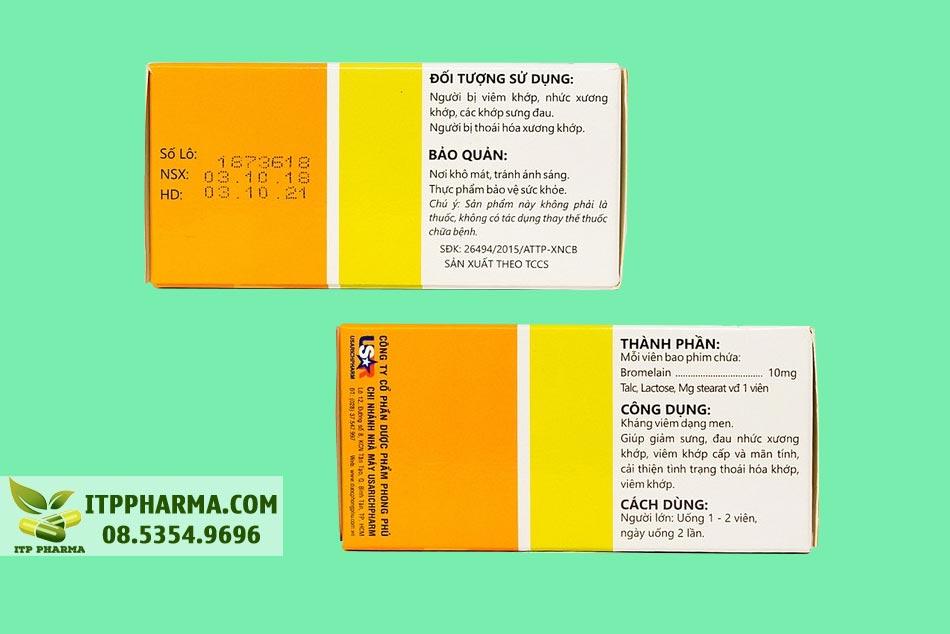 Mặt bên hộp thuốc Danzym 10mg