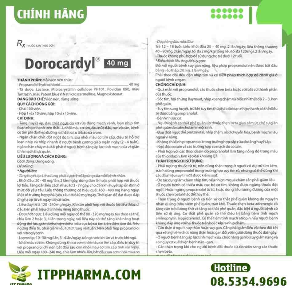 Hướng dẫn sử dụng thuốc Dorocardyl 40mg