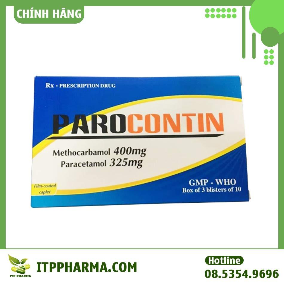 Hộp thuốc Parocontin có tác dụng giảm đau