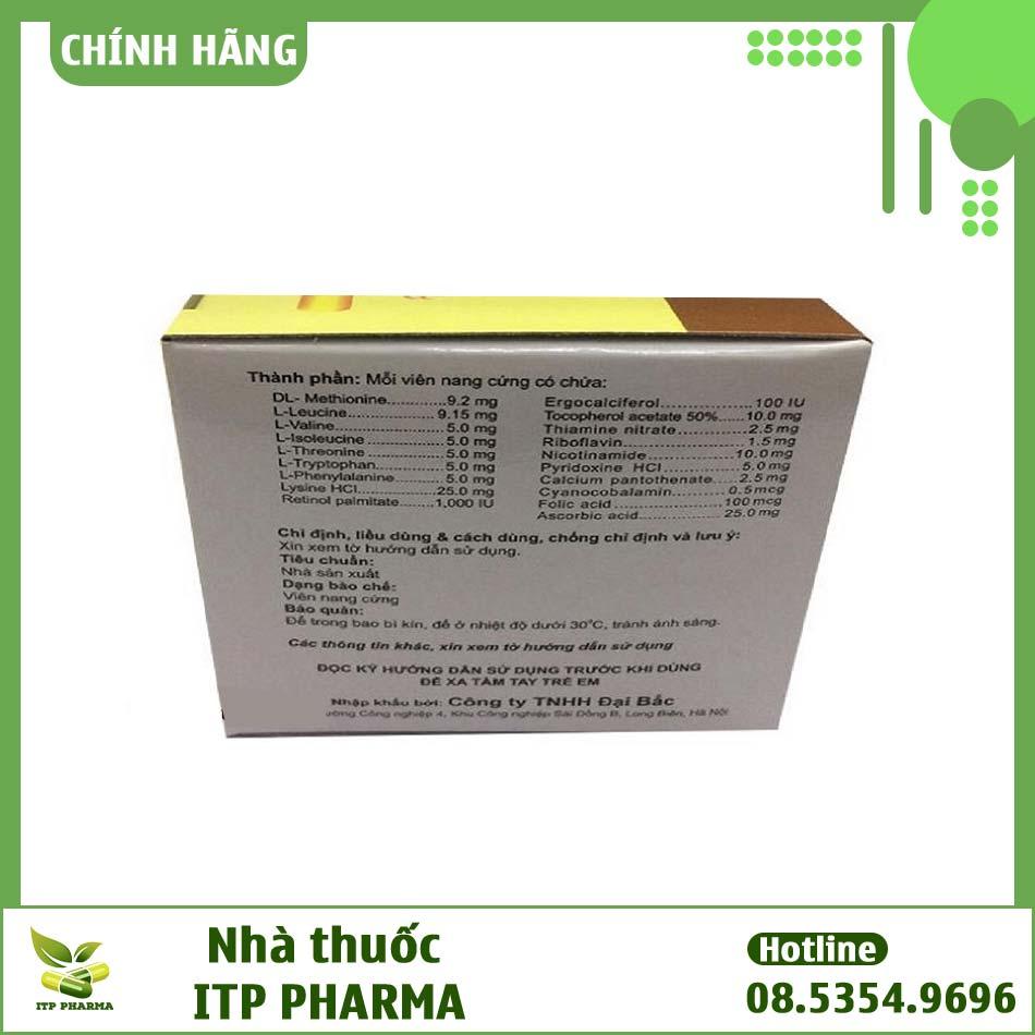 Hình ảnh một số thông tin của thuốc Hightamine trên hộp.