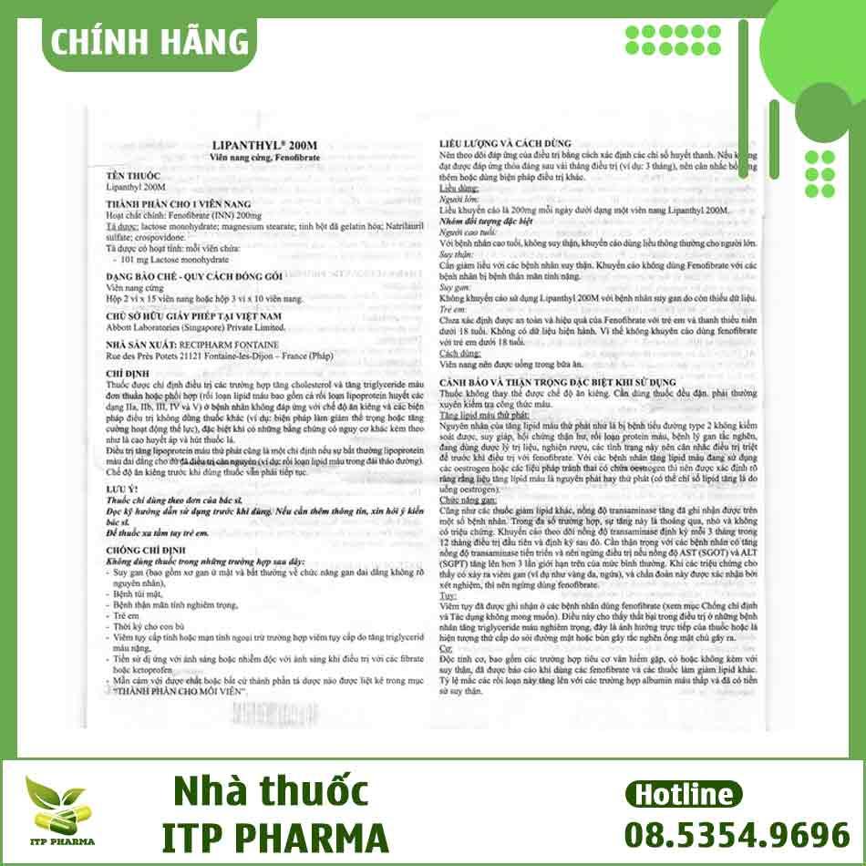 Tờ hướng dẫn sử dụng thuốc Lipanthyl