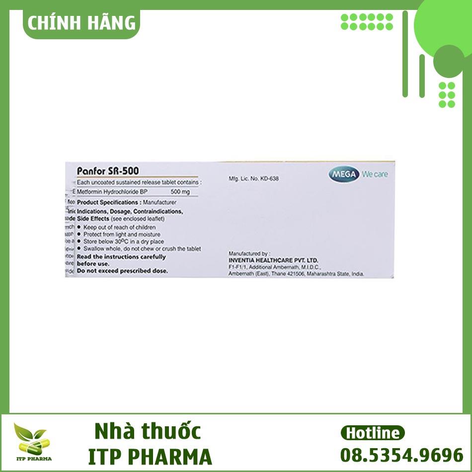 Hình ảnh một số thông tin của thuốc Panfor Sr 500 trên hộp