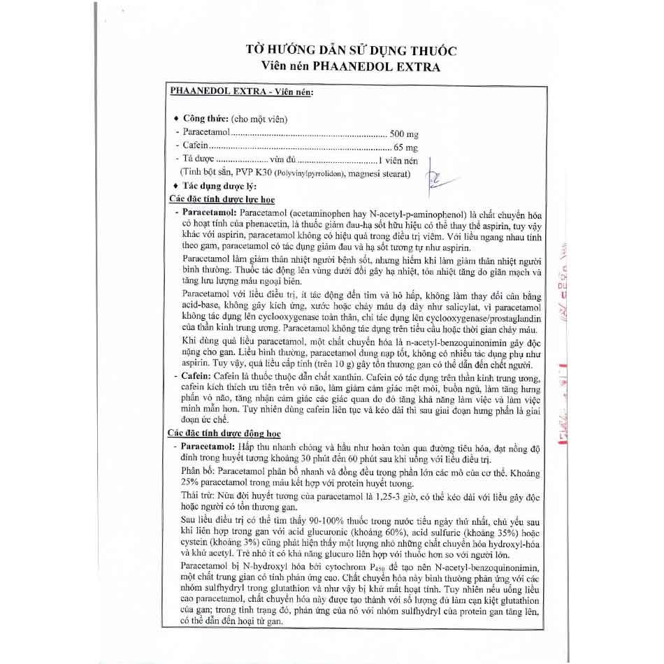 Hình ảnh tờ hướng dẫn sử dụng của thuốc Phaanedol