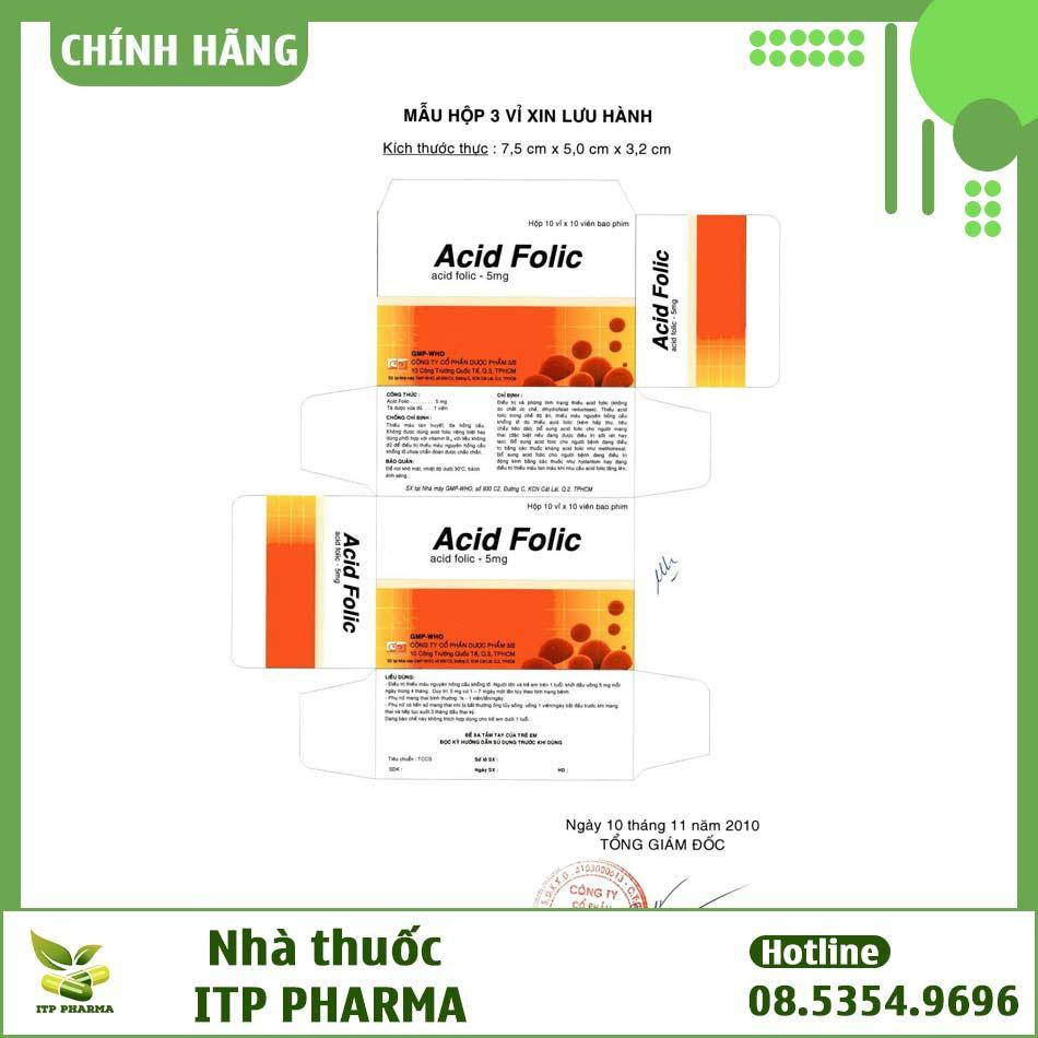 Bao bì thuốc Acid Folic đăng ký lưu hành tại Việt Nam