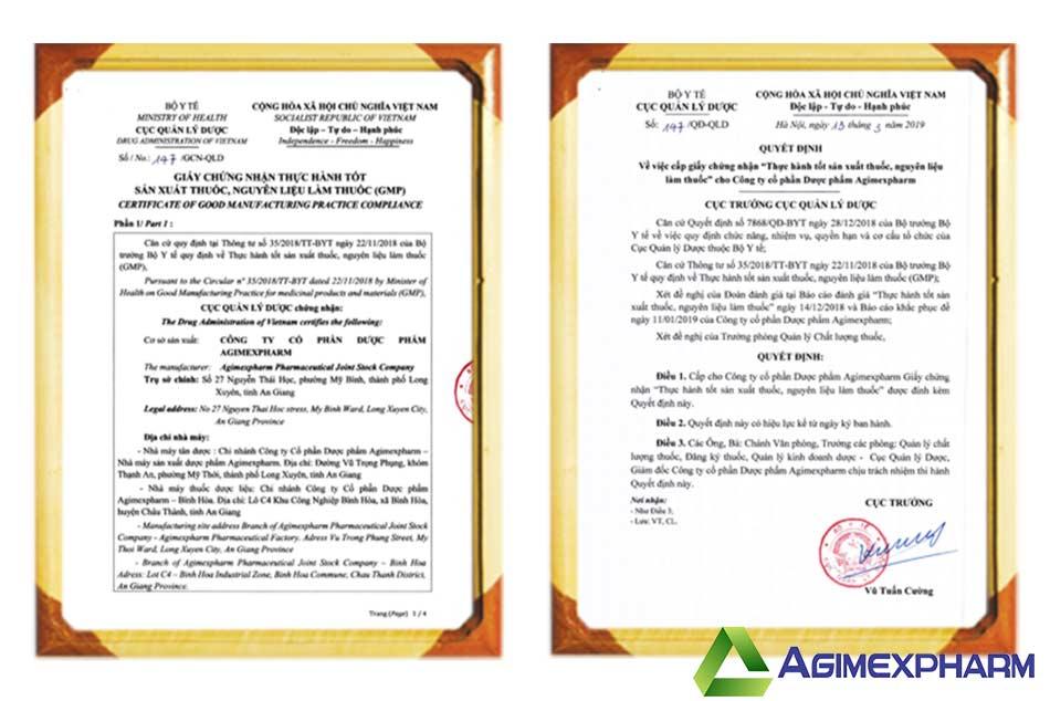 Agimexpharm đạt chứng nhận GMP do Bộ Y Tế cấp