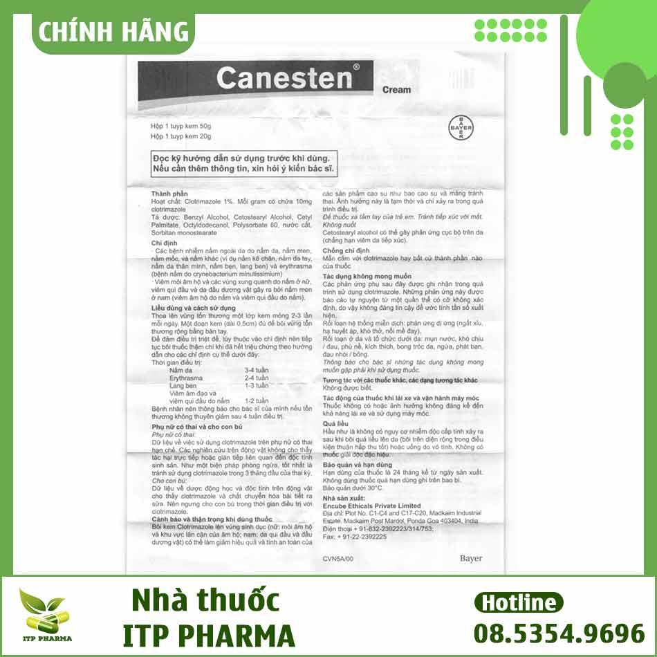 Tờ hướng dẫn sử dụng thuốc Canesten