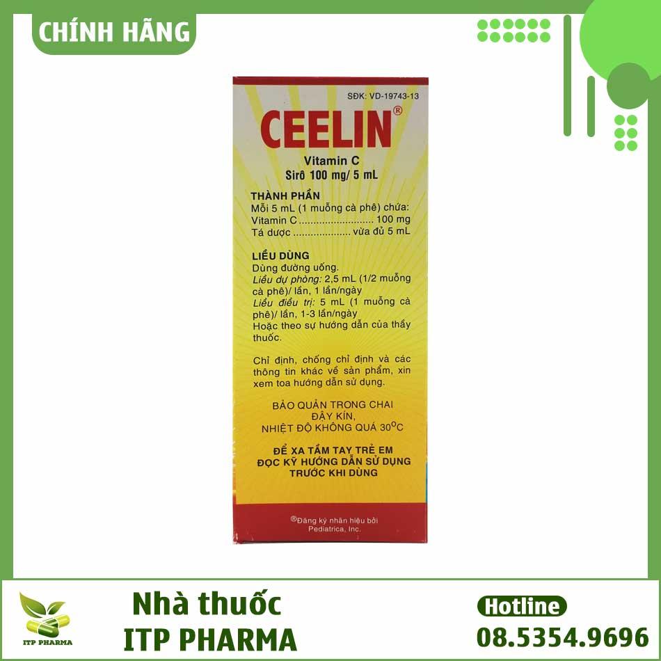Mặt sau hộp thuốc Ceelin