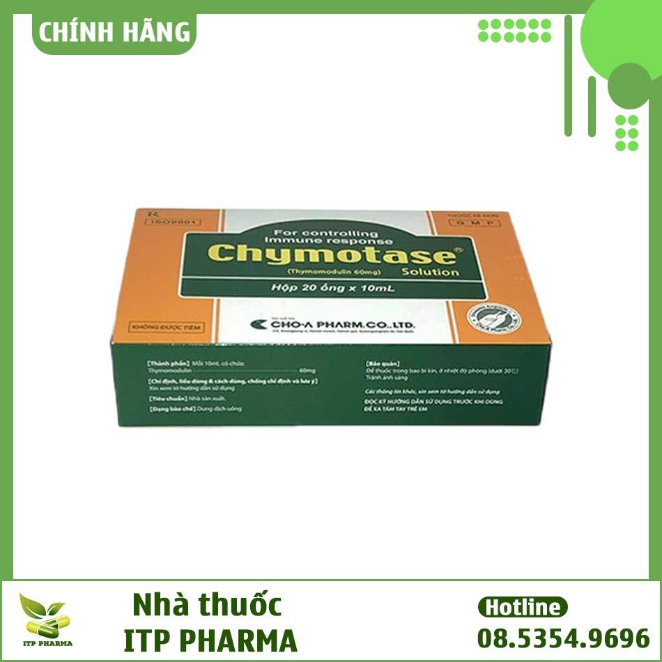 Mặt dưới của hộp thuốc Chymotase