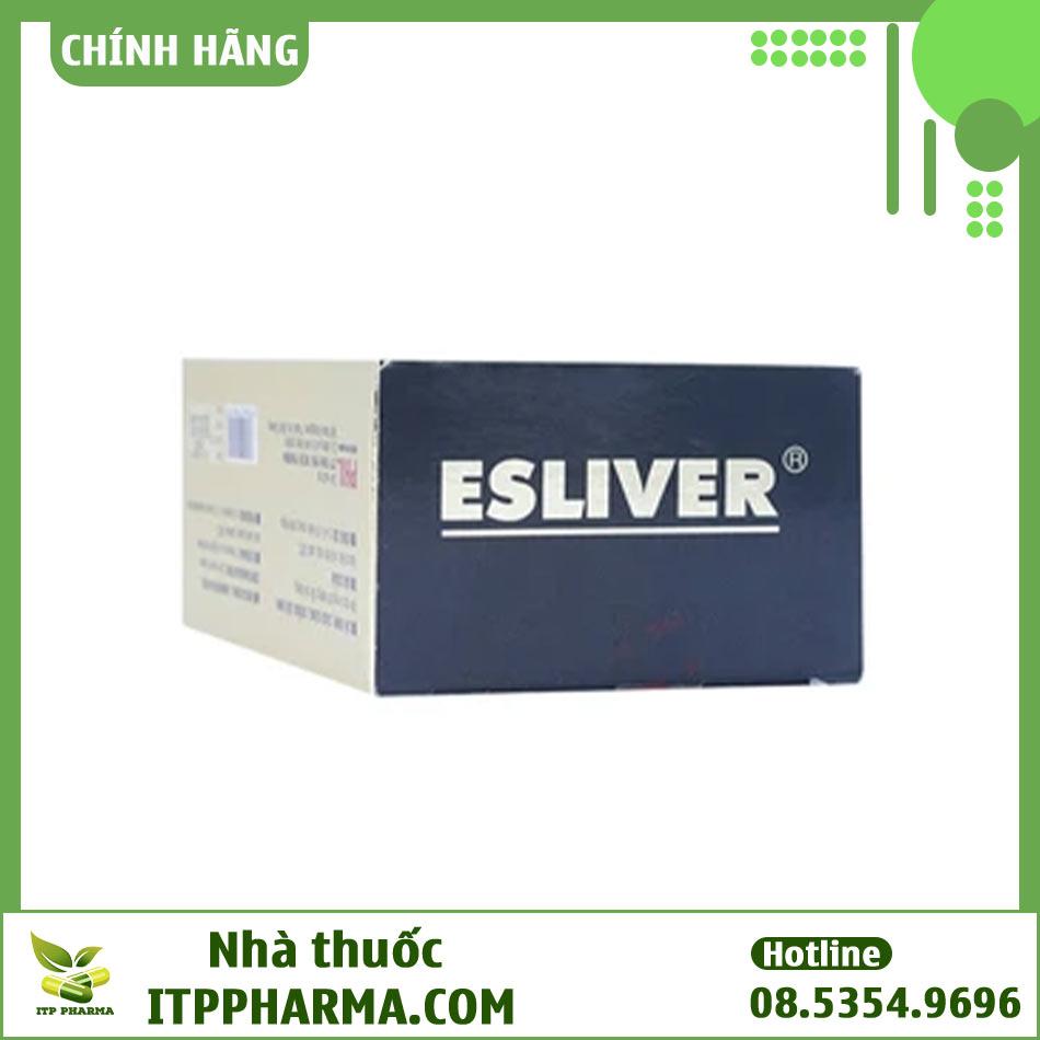 Mặt bên hộp thuốc Esliver cải thiện chức năng gan