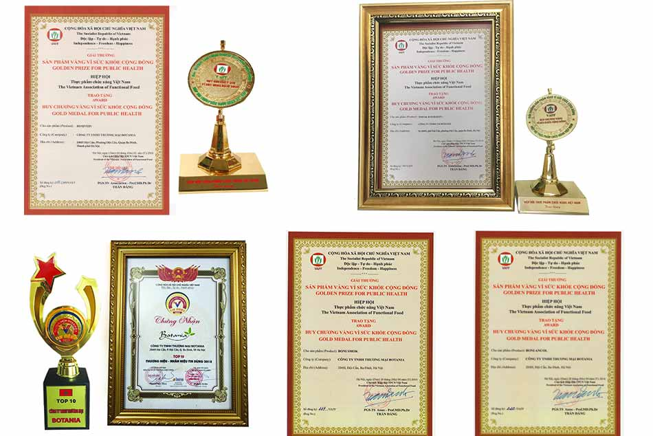 Một số giải thưởng Botania đã nhận được trong những năm qua