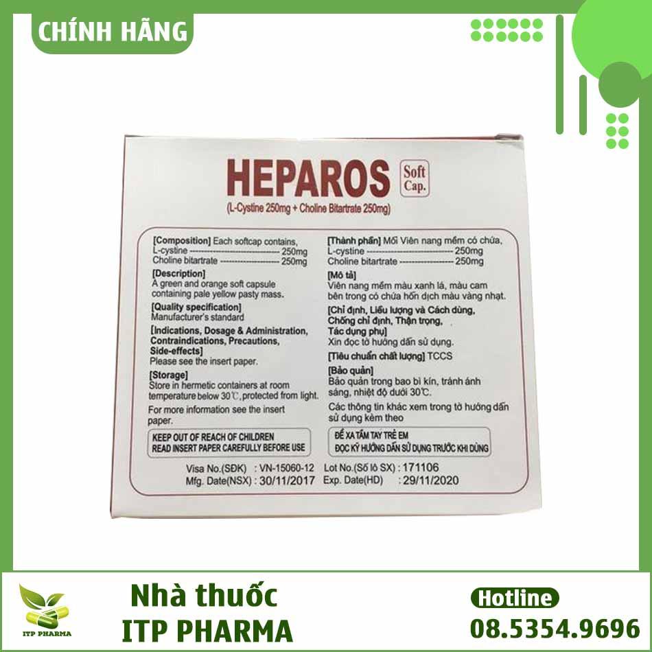 Mặt bên hộp thuốc Heparos bổ gan, trị mụn