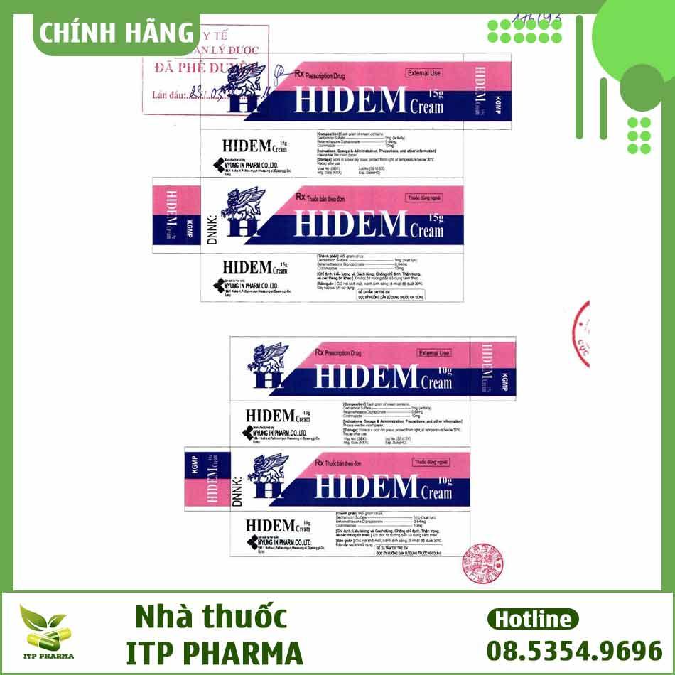 Mẫu hộp thuốc Hidem được đăng ký
