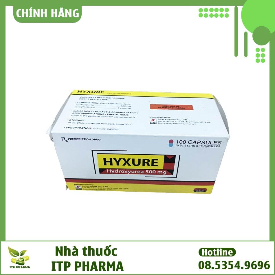 Mặt trên hộp thuốc Hyruxe
