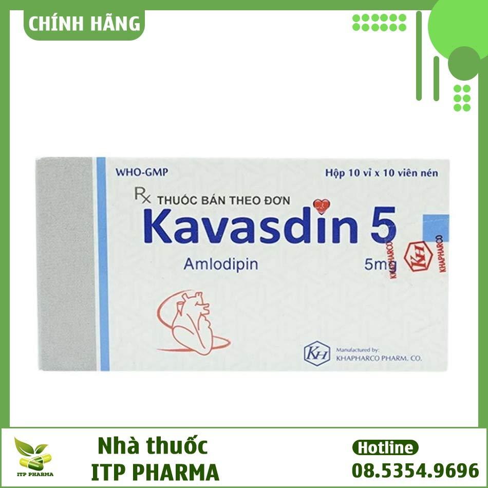 Hộp thuốc Kavasdin 5 với hàm lượng Amlodipin 5mg