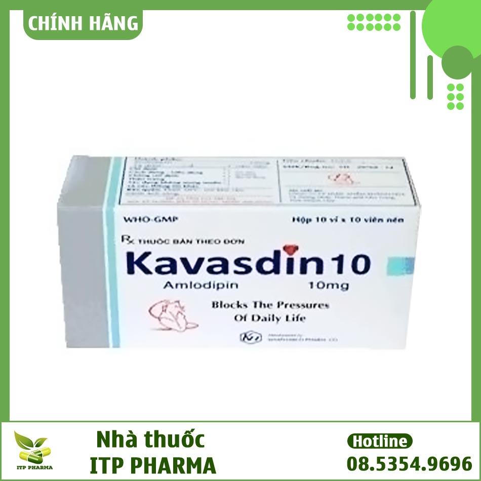 Hộp thuốc Kavasdin 10 với hàm lượng Amlodipine 10mg