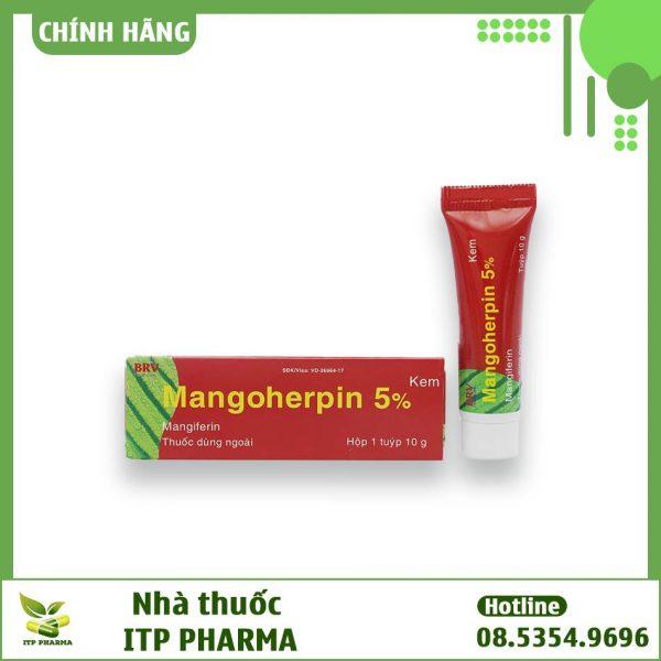 Mặt trước dạng đóng gói thuốc Mangoherpin 5%