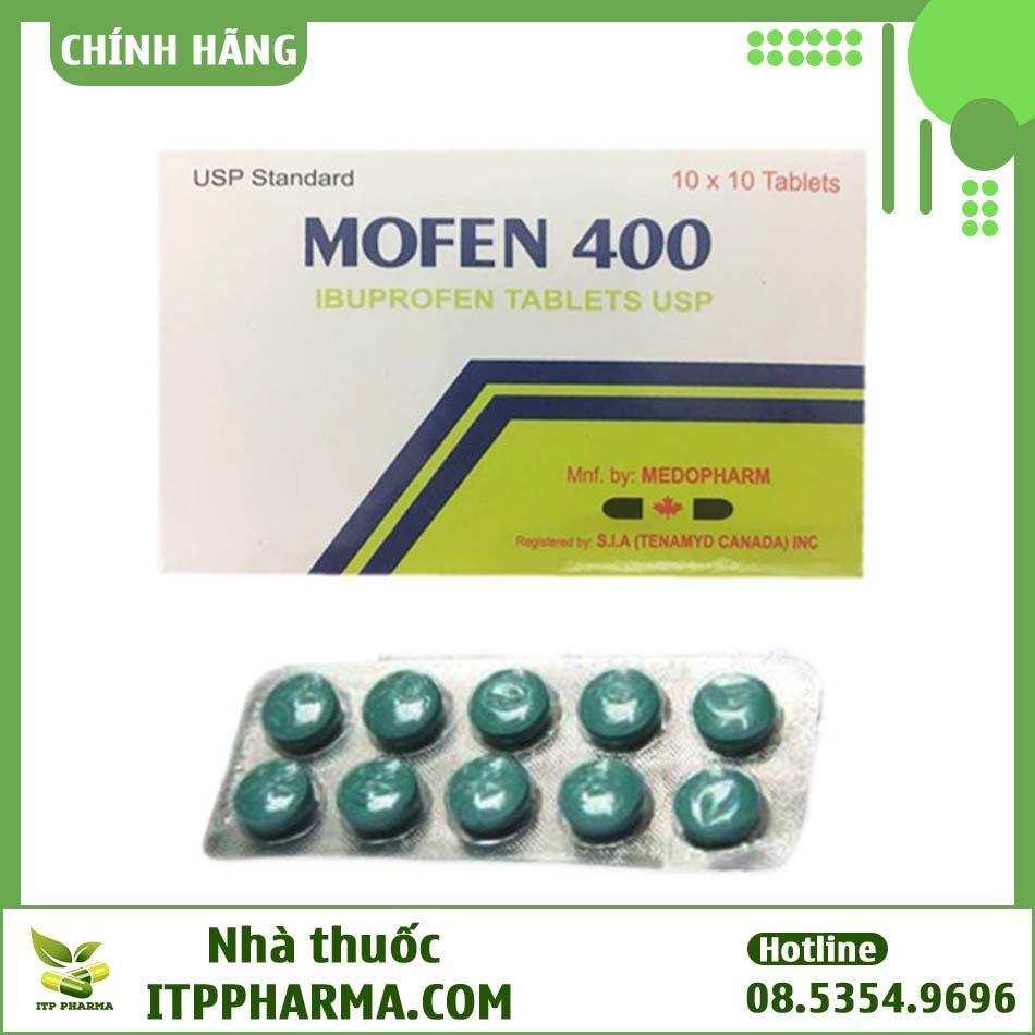 Vỉ thuốc Mofen 400 có hoạt chất chính Ibuprofen