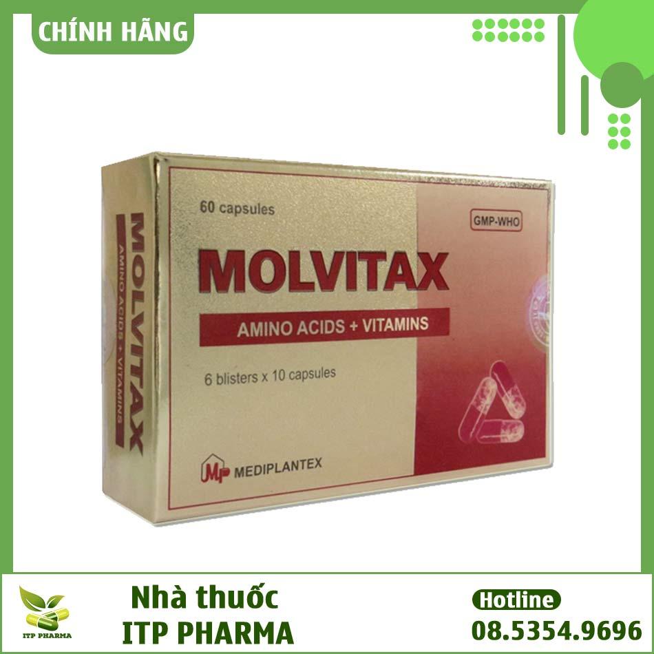 Mặt sau hộp thuốc Molvitax bổ sung vitamin và acid amin