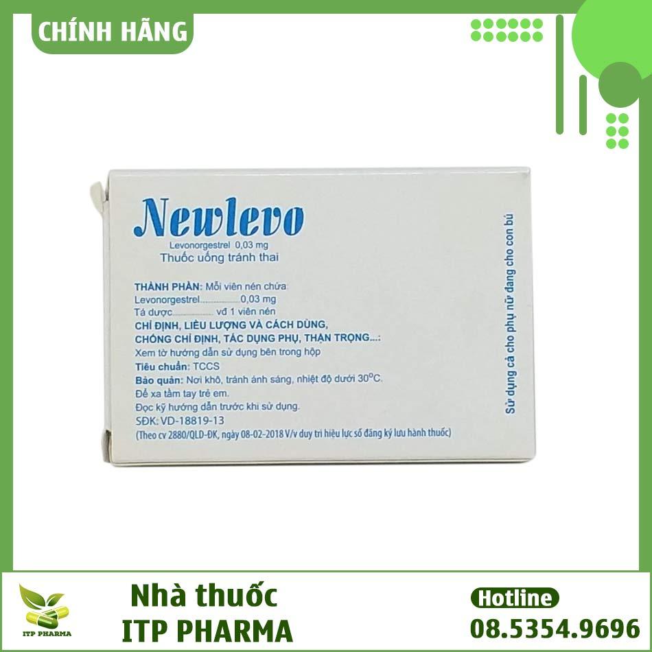 Mặt sau hộp thuốc tránh thai Newlevo