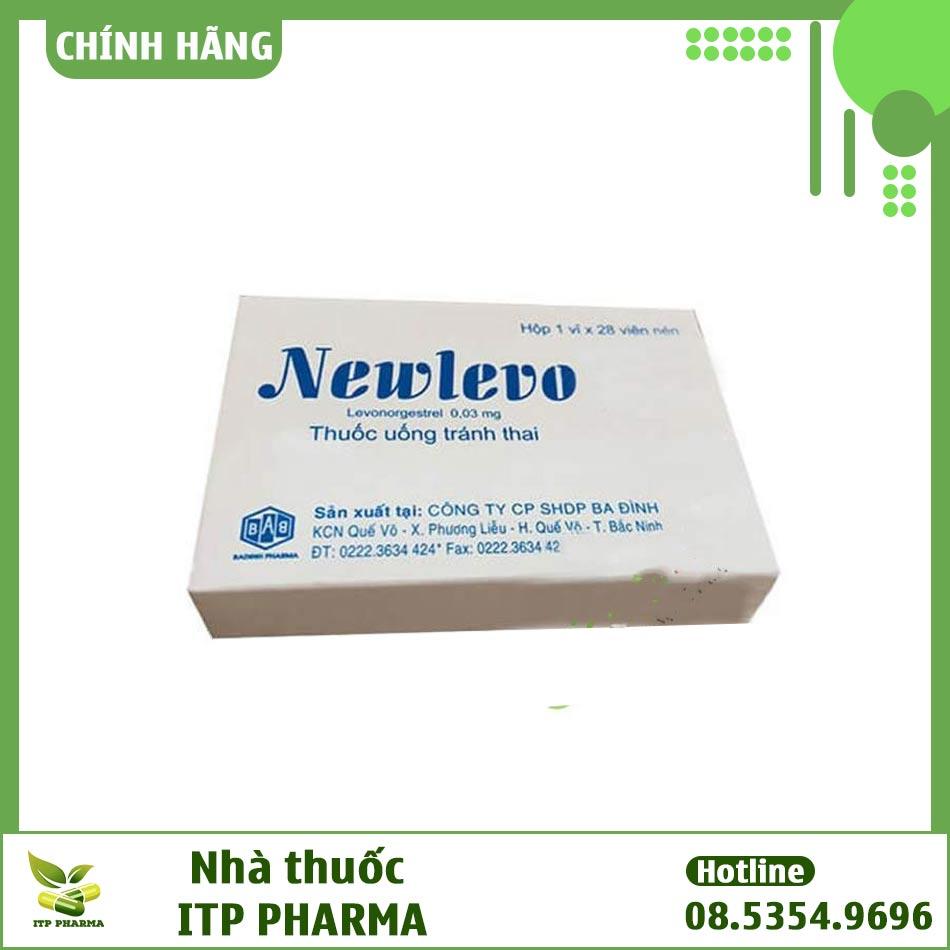 Hình ảnh hộp thuốc tránh thai hằng ngày Newlevo màu xanh