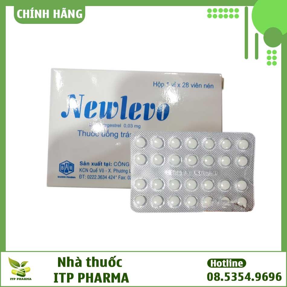 Hộp và vỉ thuốc tránh thai Newlevo