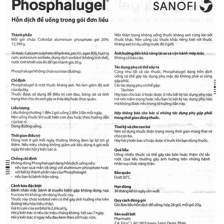 Hướng dẫn sử dụng thuốc Phosphalugel