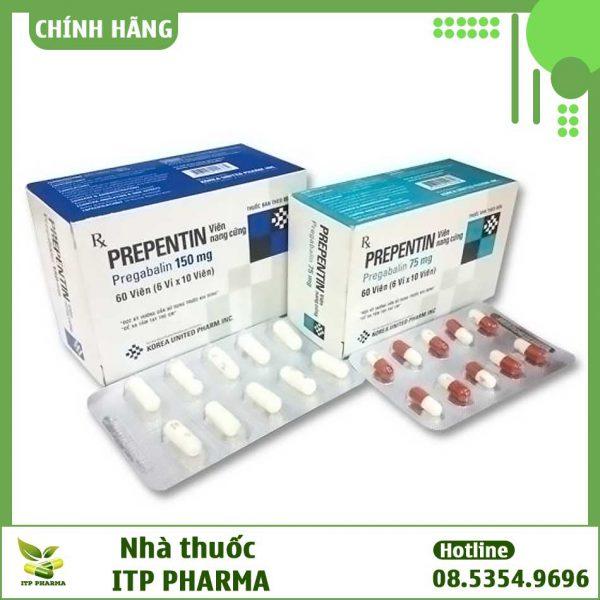 Hộp thuốc và vỉ thuốc Prepentin 150mg và 75mg