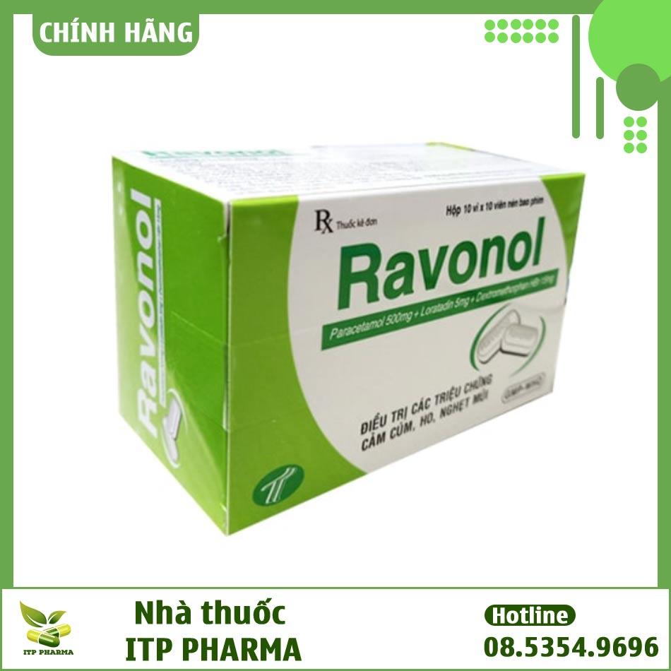 Hộp thuốc Ravonol 10 vỉ x 10 viên là thuốc giảm đau, hạ sốt, chống viêm