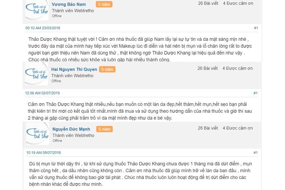 Review Serum trị mụn Thảo Dược Khang từ người dùng trên Webtretho